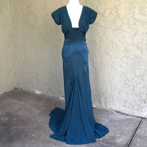 Nicole Miller Turquoise Silk Evening Gown